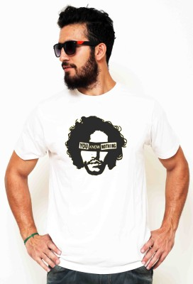 Sukhiaatma Printed Men's Round Neck White T-Shirt