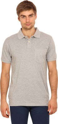 Stalwart Solid Men's Polo Neck Grey T-Shirt