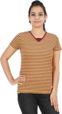 Recca Striped Women,s V-neck Maroon T-Shirt