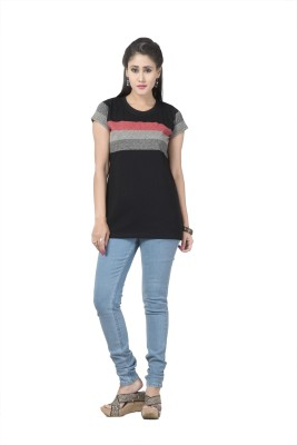 Prova Striped Women's Round Neck Black T-Shirt