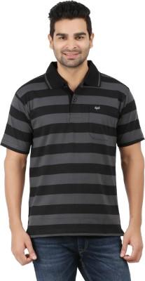 6P6 Striped Men's Polo Neck Black, Grey T-Shirt