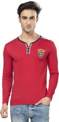 Purple Haze Printed Men's Henley Red T-Shirt