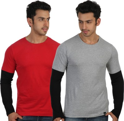 Rigo Solid Men's Round Neck Red, Grey T-Shirt