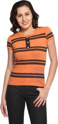 Maatra Striped Women,s Round Neck Orange T-Shirt