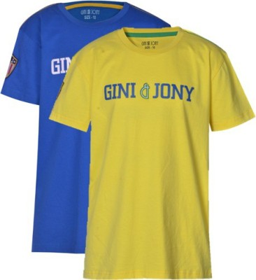 Gini & Jony Printed Boy's Round Neck T-Shirt
