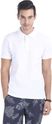 Zobello Solid Men's Polo Neck White T-Shirt