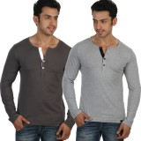 Rigo Solid Men's Henley Grey, Grey T-Shi...