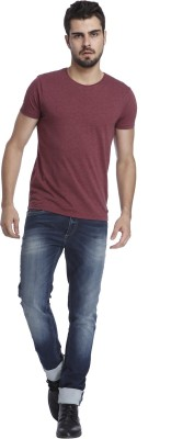 Jack & Jones Solid Men's Round Neck Maroon T-Shirt