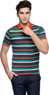 Global Nomad Striped Men's Polo Neck Red, Dark Blue, Green T-Shirt