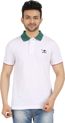 Kludss Solid Men's Polo Neck White T-Shirt