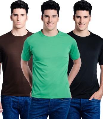 Superjoy Solid Men's Round Neck Black, Brown, Green T-Shirt