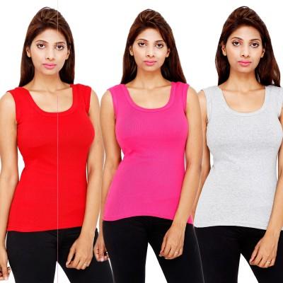 Kiez Solid Women's Round Neck Grey T-Shirt