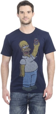 Simpsons Printed Men's Round Neck Dark Blue T-Shirt