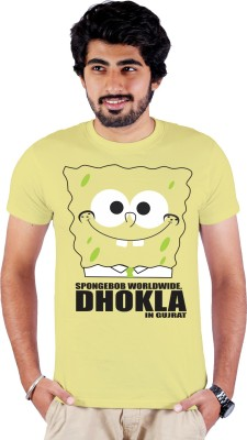 Enquotism Printed Men's Round Neck Yellow T-Shirt