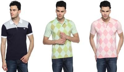 Swing9 Printed Men's Polo Neck Multicolor T-Shirt