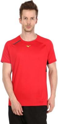 Mizuno Solid Men's Round Neck Red T-Shirt