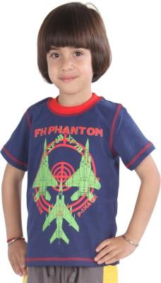 Posh Kids Graphic Print Boy's Round Neck Blue, Red T-Shirt