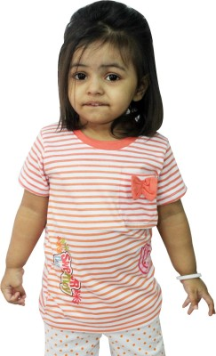 TRUSTHOUSE Printed Baby Girl's Round Neck White T-Shirt