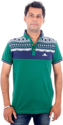 Brandwear Printed Men's Polo Neck Green T-Shirt