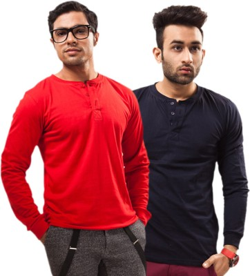 Unisopent Designs Solid Men's Henley Red, Dark Blue T-Shirt