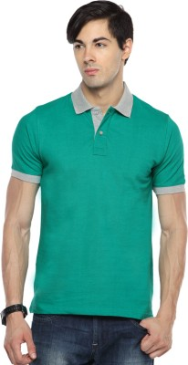 Pepperclub Solid Men's Polo Neck Light Green T-Shirt