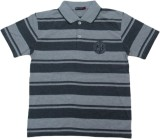 Miracle Striped Men's Polo Neck Grey T-S...
