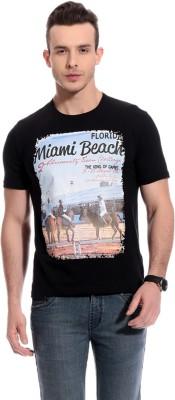 TAB91 Printed Men's Round Neck Black T-Shirt