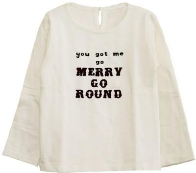 My Little Lambs Graphic Print Girl's Round Neck White T-Shirt