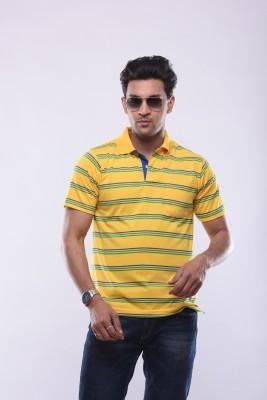 SHAYAN EXPORT Solid Men's Flap Collar Neck Yellow T-Shirt
