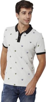 Chumbak Printed Men's Polo Neck Grey T-Shirt