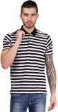 Foldin Striped Men's Polo Neck Black T-S...