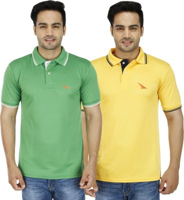 PRO Lapes Solid Men's Polo Neck Yellow, Green T-Shirt
