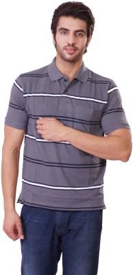 D-Green Striped Men's Polo Grey T-Shirt