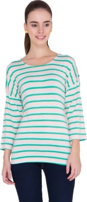 Alibi Striped Women's Round Neck Pink T-Shirt