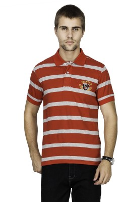 Pointer Striped Men's Polo Neck Red T-Shirt