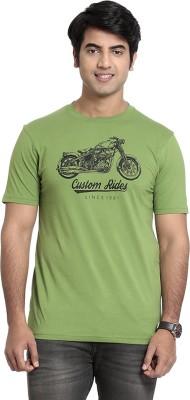 SEVEN Solid Men's Round Neck Green T-Shirt