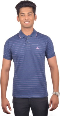 Vibgyor Striped Men's Polo Blue T-Shirt