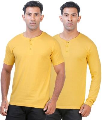 Click Hit Solid Men's Henley Yellow, Yellow T-Shirt