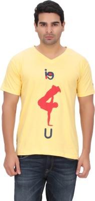 Indian Engineer Printed Men's V-neck Yellow T-Shirt