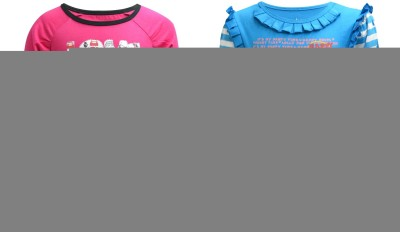 Blueriver Graphic Print Girl's Round Neck Pink, Blue T-Shirt