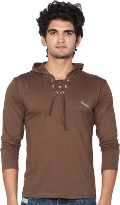 Amp Colors Solid Men's Hooded Brown T-Shirt