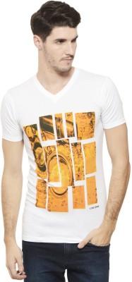 A1 Tees Printed Men's V-neck White T-Shirt