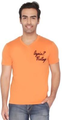 Again Vintage Solid Men's V-neck Orange T-Shirt