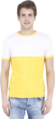 Bonzer Fashion Solid Men's Round Neck Yellow, White T-Shirt