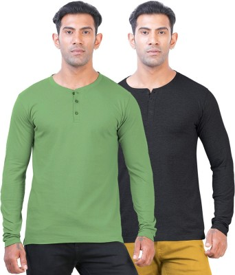 Click Hit Solid Men's Henley Green, Black T-Shirt