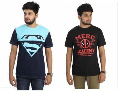 The Dry State Graphic Print Men,s Round Neck Black, Dark Blue T-Shirt