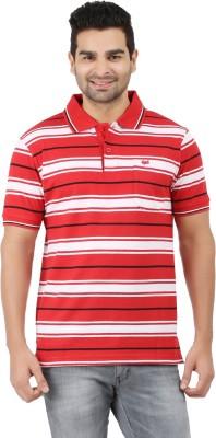 6P6 Striped Men's Polo Neck Red, Black, White T-Shirt