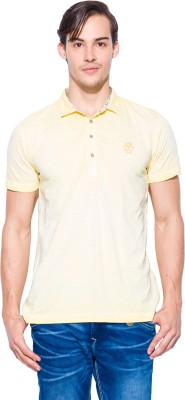Mufti Solid Men's Polo Neck Yellow T-Shirt