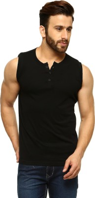 Gritstones Solid Men's Henley Black T-Shirt