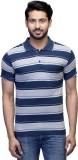 Campty Plus Striped Men's Polo Neck Blue...